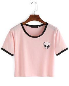 Crop T-Shirt girocollo Alieno stampa-rosa €9.02 Vestidos Con Mangas 77049bb506837