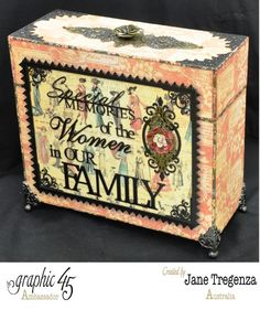 """""""Special Memories of the Women in our Family"""" altered box by Jane Tregenza #graphic45"""
