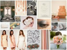 Dove Grey & Peach Vintage Wedding Inspiration Board