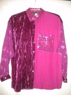 73e537c451d01 Tina Hagen Size Large Fuchsia Sequin Embroidered Sheer Sleeve Women Blouse  Tunic  TinaHagen  ButtonDownShirt
