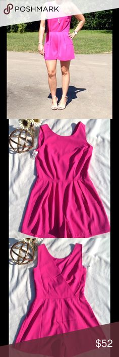 NWT Hot Pink romper  NWT Jennifer Lopez bright Barbie doll pink romper, adorable dressed up or down Jennifer Lopez Pants Jumpsuits & Rompers
