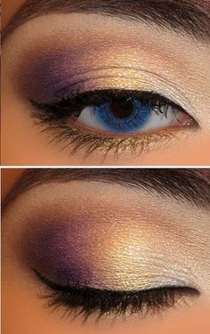Eye make up for solo - white in inner eye, gold in the center, purple on the outside, brown in the crease.