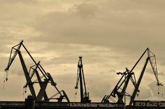 Dźwigi stoczniowe / #Shipyard #cranes | photo: Asia Posmyk Danzig, Industrial, Crane, Bridges, Utility Pole, Poland, Asia, Yard, Explore