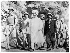 The youthful Superintendent of the Hill States inspecting with local Indian officials; photograph courtesy of the Centre of South Asian Studies, University of Cambridge; 20th century.