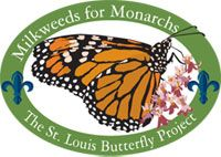 St. Louis Milkweeds for Monarch Project Logo. Image of a Monarch butterfly