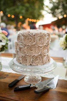 Delicious, Romantic Champagne Buttercream Simple Wedding Cake | Photo: Photo Love | Cake: Rick's Bakery |