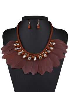 Faux Crystal Feather Necklace and Earrings