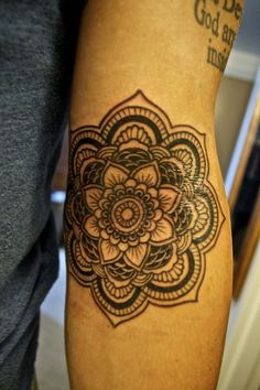 A Mandala piece, a Buddhist symbol for creation and harmony. Done by Leo at Two Thumbs Tattoo in Pearl City, Hawaii.