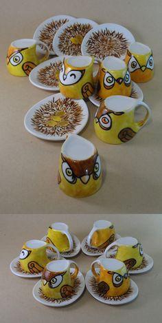 Mustard owls set of coffee cups Pinned by www.myowlbarn.com