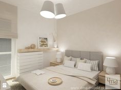 Projekt mieszkania na Bielanach o pow. 51,5 m2. - Mała średnia sypialnia małżeńska, styl nowoczesny - zdjęcie od 4ma projekt