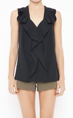Ruffled Black Top (Wish this came in orange) Work Fashion, Fashion Models, Fashion Outfits, Womens Fashion, Fashion Design, Eco Clothing, Travel Wardrobe, Style Watch, Rich Girl