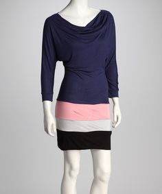 Take a look at this Navy Color Block Drape Dress by Renee C. on #zulily today!