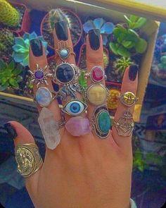 Hippie Rings, Hippie Jewelry, Cute Jewelry, Jewlery, Hippie Accessories, Accessoires Hippie, 00s Mode, Mode Hippie, Aesthetic Indie