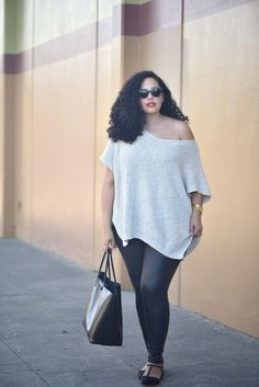Plus Size Fashion - Plus Size Outfit - Oversize Sweater, Faux Leather Leggings, Studded Flats