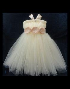 Champagne Flower Girl Dress, Flowergirl Dresses, Weddings, Tutu Dress, Empire Waist Dress, Baby Dress, Girls Dress. $89.95, via Etsy.