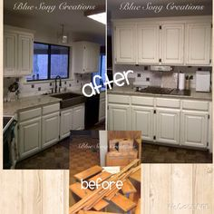 Kitchen cabinet refinishing job completed by Blue Song Creations Cabinet Refinishing, Blue Song, Painting Cabinets, Painted Furniture, Creations, Kitchen Cabinets, Songs, Home Decor, Decoration Home