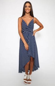 Hold Me Dress - Navy Stripe | New Arrivals | Peppermayo