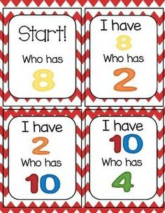 I Have...Who Has Number Recognition 0-20 {Freebie}