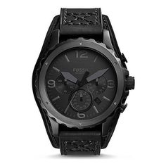 Fossil Nate Watch found on Polyvore featuring polyvore, men's fashion, men's jewelry, men's watches, men, accessories, men's accessories, watches, black and mens leather strap watches