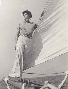 Dana Andrews aboard one of his three sailboats. He was a superb sailor. More like this photography in HOLLYWOOD ENIGMA: DANA ANDREWS.