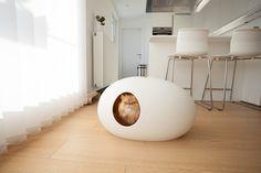 Moderne Katzentoilette Poopoopeedo in Weiß (und vielen weiteren Farben!). Passt auch für Maine Coons!