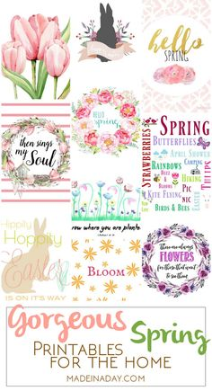 Gorgeous Spring Printable Art for the Home, add the freshness of Spring to your home decor with free printable art, peony, tulip, watercolor, bunnies, wreaths, flower printable art via @madeinaday