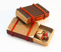 Suitcase with Bouquet of Roses miniature Matchbox/ Card / Gift box/ Message box/ Dark Brown Wood Pattern