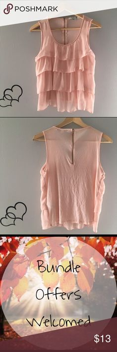 Pink Tiered Top Super cute top! Zipper closure on the back. Fast shipping. No trades. Forever 21 Tops