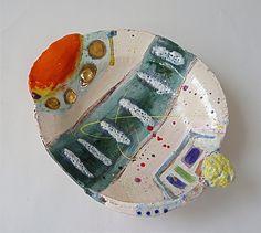 Slipped earthenware platter Linda Styles 2010