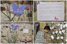 baptême mauve et fushia thème papillons