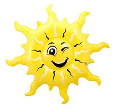 Spread a little sunshine with this inflatable happy sun with a wink! We will always help you to have a positive happy buying experience. Beach Inflatables, Inflatable Palm Tree, Fancy Dress Props, Hawaiian Luau Party, Party Streamers, Partys, Felt Ball, Party Accessories, Main Colors