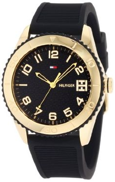 Sport Gold Toned Black Silicon Watch  close