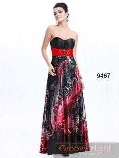 ブラック基調のユニークな花プリントロングドレス♪  - ロングドレス・パーティードレスはGN|演奏会や結婚式に大活躍!