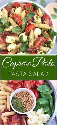 Caprese Pesto Pasta Salad | pasta salad | mozzarella tomato salad | simple pasta salad | easy pasta salad | caprese salad
