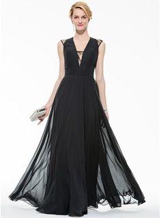 A-Line/Princess V-neck Floor-Length Chiffon Evening Dress With Lace (017080868)