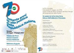 Dal 25 maggio al 20 giugno 2016 Palazzo dei Priori, Palazzo Graziani, Palazzo Baldeschi e la Biblioteca Augusta ospiteranno la mostra per celebrare la nascita della nostra Repubblica