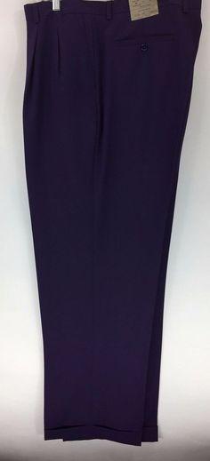 Men's Solid Purple Dress Pants 2-Pleats with Cuffed Hem Polyester Pacelli Pierce #Pacelli #DressPleat