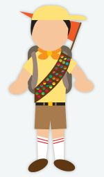DIY Halloween Costume: Russell from UP - you will need a yellow hat, a yellow shirt, khaki shorts, mid-calf socks, a pair of brown shoes, an orange hanker chief, a back pack and an orange pennant flag. Pick up a couple different colors of felt and cut circles for his badges. His wilderness explorer logo is on his hat, shirt and flag. Recreate it using fabric markers or print it off to glue on. You can also add a bundle of helium balloons if you want!