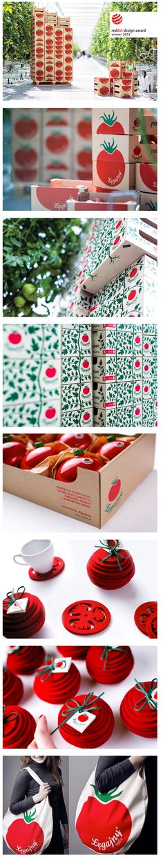 The project task was to create a visual identity and packaging for Legajny Tomato Farm. The traditional brand emphasises the use of natural materials - felt, cotton, recycled paper and card - for packaging and environmentally conscious promotional lifestyle items, such as coasters, christmas tree baubles and a reusable shopping bag. Red dot award winner 2012.