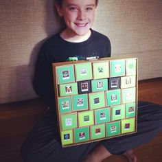 """My nephew and I made a Minecraft advent calendar using paper, 12""""x12"""" paper storage box and my Stampin' Up! Box maker. He printed some images numbered 1-25 for each box. Murals and Things by Jamie www.jamiegivens.org"""
