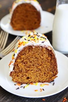 Pumpkin Bundt Cake with Cream Cheese Frosting Recipe on twopeasandtheirpod.com This pumpkin cake is super easy to make and everyone loves it! It is a must make dessert for fall!