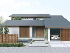 リフォームガレージハウス Japan Modern House, Modern House Plans, Japanese Style House, Asian House, Modern Asian, Weekend House, Japanese Architecture, Garage House, Tropical Houses