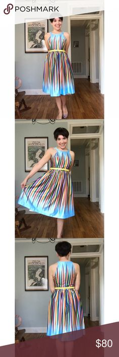What's the Zeal? ModCloth dress Like new! I wore this out to dinner once. It's a truly original ModCloth namesake label rainbow dress in a somewhat shiny fabric-- really eye-catching! Original yellow belt (loops, removable) included. Circle collar. Back zipper. Real gem!  ModCloth Dresses