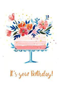 Watercolor Birthday Cards, Birthday Card Drawing, Birthday Card Design, Watercolor Cards, Happy Birthday Painting, Simple Birthday Cards, Bday Cards, Happy Birthday Cards, Birthday Cakes