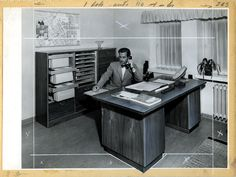 The director's new desk. Tehokaluste's (Martela) first product was a writing table. There was big demand for this during the rebuilding of Finland, when civil servants were put to work in offices. (In the 1940s)
