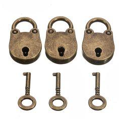 3pcs Old Vintage Antique Style Mini Padlock Lock with Keys