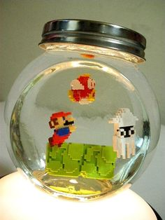Another good decor idea for mario nursery! Obvious Winner - So Easy To See The Awesomeness - ow - Move Over Beta Fish, the Mario Bros Fish Bowl is the Next Geek Rage Legos, Deco Lego, Geek Decor, Mario And Luigi, Mini Mario, Ideias Diy, Lego Creations, Super Mario Bros, Pixel Art