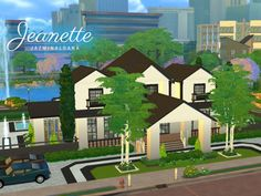 A two-story, black and white themed home that has 3 bedrooms, 3  bathrooms, entertainment room, gym, kitchen, dining area, and a pool.  Found in TSR Category 'Sims 4 Residential Lots'