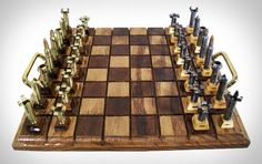 Chess set for the firearms enthusiast.