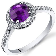 Oravo 14k White Gold Checkerboard Gemstone Halo Ring (1 ct Amethyst Size 6), Women's, Purple